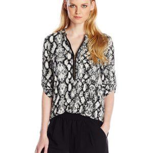Calvin Klein Impreso de la mujer cierre de cremallera-front roll-sleeve Blusa