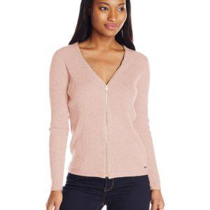 Calvin Klein zipper-front acanalado chaqueta de punto Suéter de la mujer