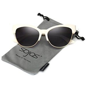 SojoS Gafas De Sol Mujer Clásico Ojo De Gato Con Marco Mitad Alto SJ2026