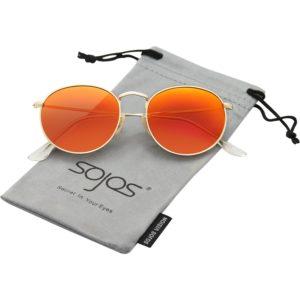 SojoS Gafas De Sol Unisex Pequeñas Redondas Vintage Lentes Espejo Brillante Protección UV Polarizado SJ1014