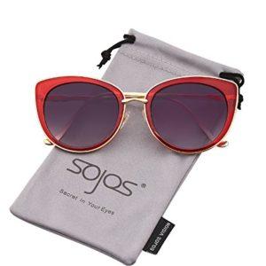 SojoS Retro Fashion Cat Eye Mujeres Gafas de sol Metal Espejo Espejo SJ1002