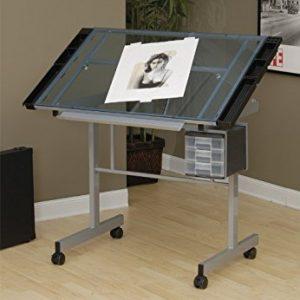 Studio Designs Vision Craft Station Mesa de dibujo plateada con vidrio azul