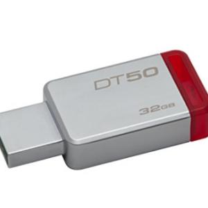 Kingston DT50 32GB Memoria USB DataTraveler 50 32GB, USB 3.0, color Rojo Metálico